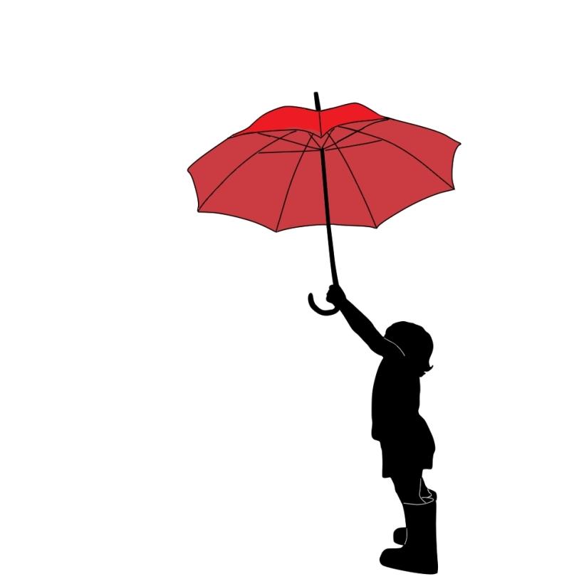 赤い傘を持つ少女
