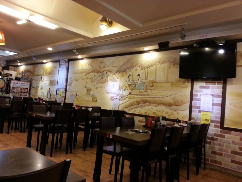 店裡裝潢也是傳統農耕壁畫,充滿特色