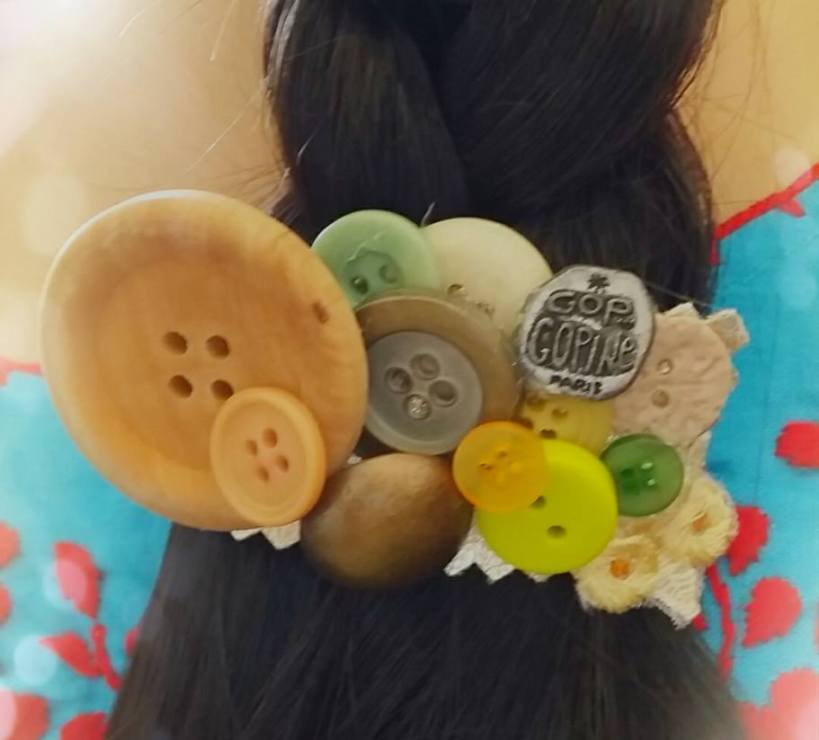 鈕扣造的髮夾