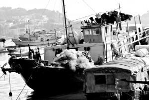 在香港已經難得一見的有人居船上的漁船。這艘算很小號的了,相信這家漁民都不會真的以船當為唯一居室了。