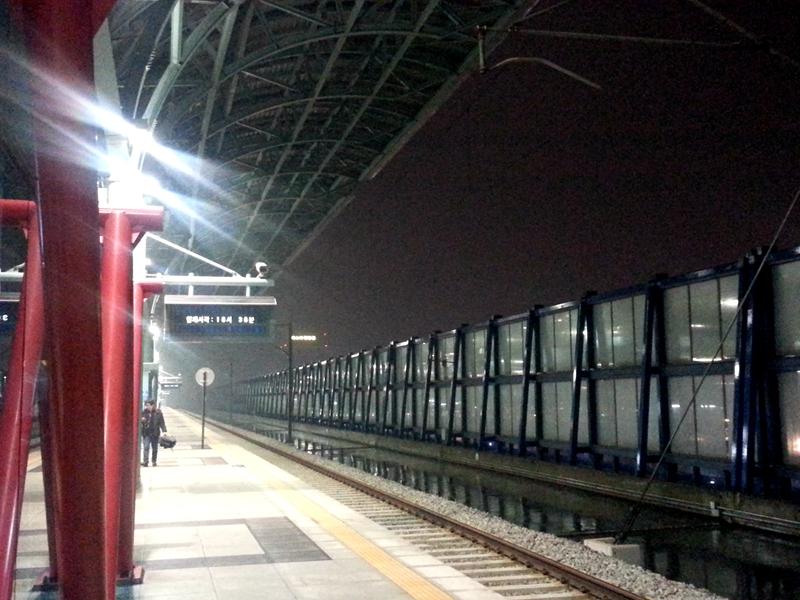 不是密封的車站,在暴雨下迎入大量雨水,把車軌都溢滿了。